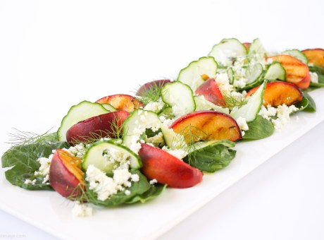 Salad of grilled peach, ricotta and fennel | The Fare Sage