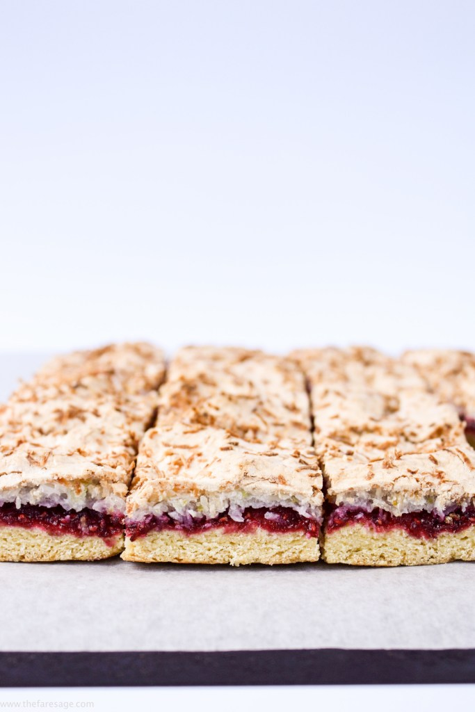Raspberry, lime and coconut slice | The Fare Sage