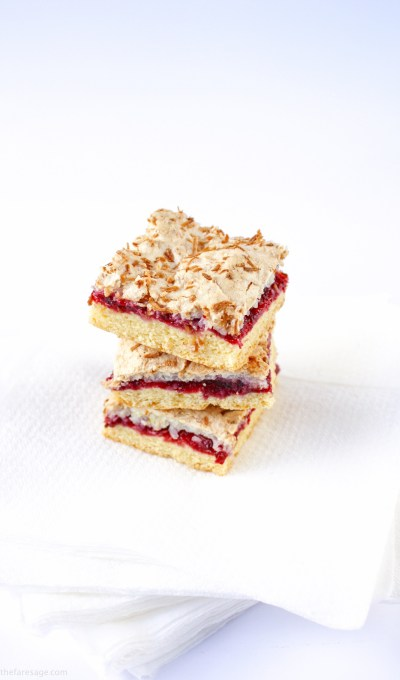 Raspberry slice with lime and coconut