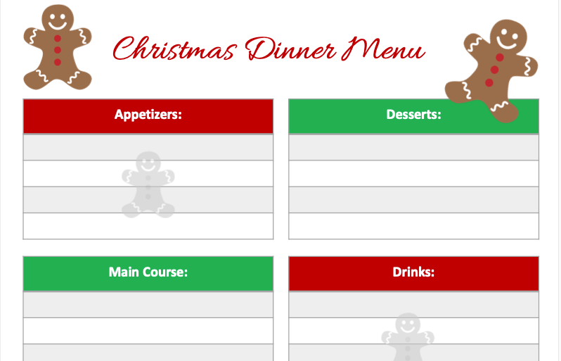Christmas Meal Planning printable