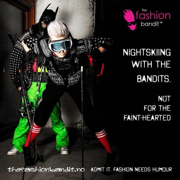 The Fashion Bandit Benedikte St.Pierre and Arctic Bandit Sindre Solvin are ready for nightskiing