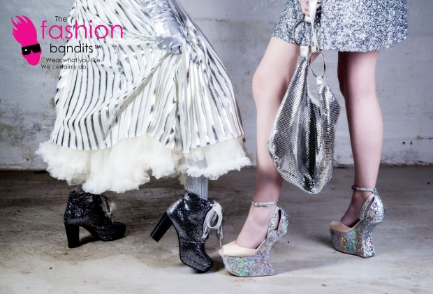 The Fashion Bandits - silver shoes and skirts