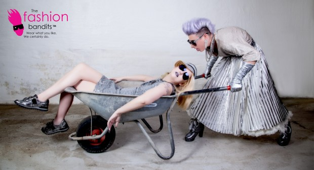 The Fashion Bandits going for silver - totally worn out in a wheelbarrow