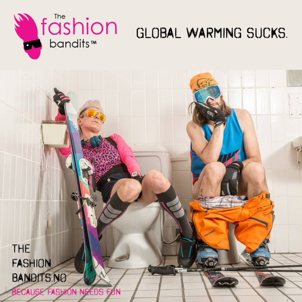 The Fashion Bandits Benedikte St.Pierre and Sindre Solvin are waiting for snow to go skiing - on the toilet