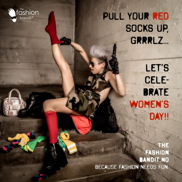 The Fashion Bandit Benedikte St.Pierre is pulling up her red socks and gun for Women's Day!