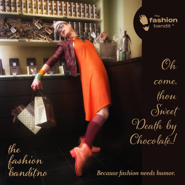 The Fashion Bandit Benedikte St.Pierre is about to die in Chocolatier SebastienBruno's chocolate shop