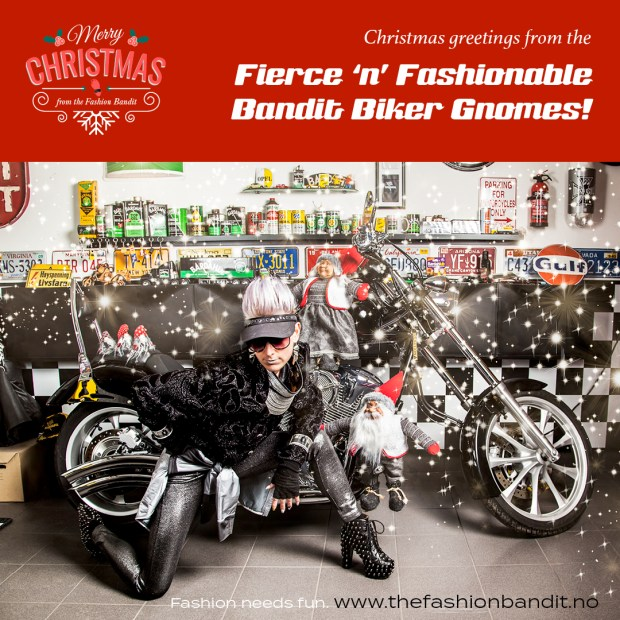 The Fashion Bandit Benedikte St.Pierre is posing for a Christmas photo with her Biker Nisse Bandits
