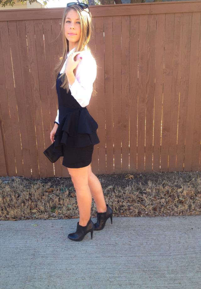 H&M Ruffle Dress White Blouse BCBG Booties
