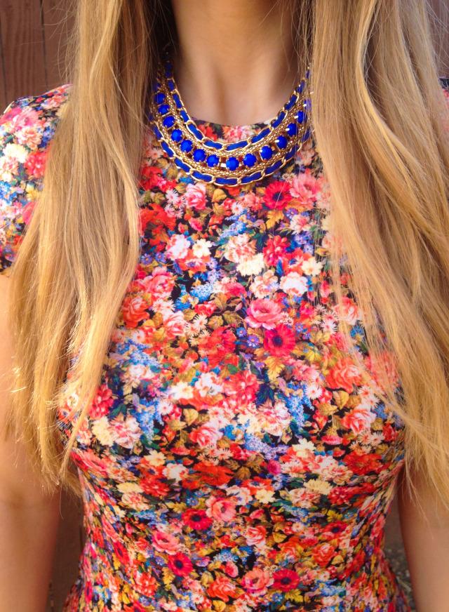Zara Floral Print Dress Statement Necklace