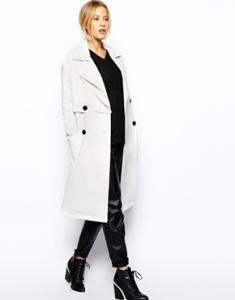 ASOS Double Breasted White Trench Coat