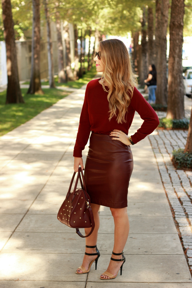 Monochromatic oxblood outfit