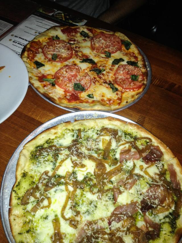 Margherita Pizza and Prosciutto & Pesto Pizza