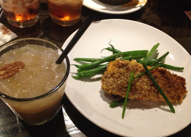 Pecan Crusted Salmon with Green Beans and Pecan Cocktail