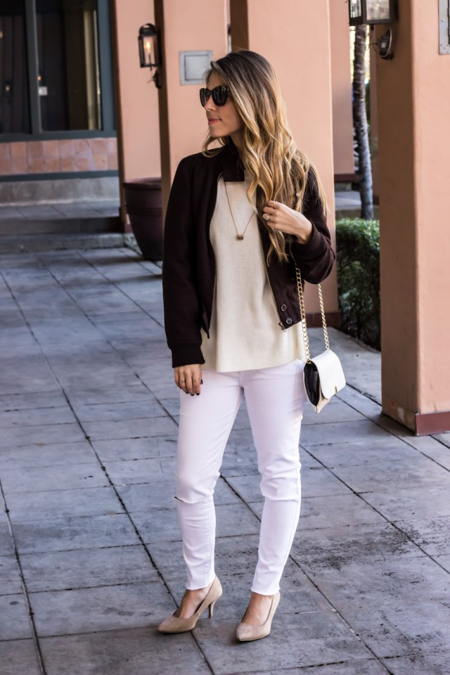 White Sweater and Skinny Jeans with Bomber Jacket