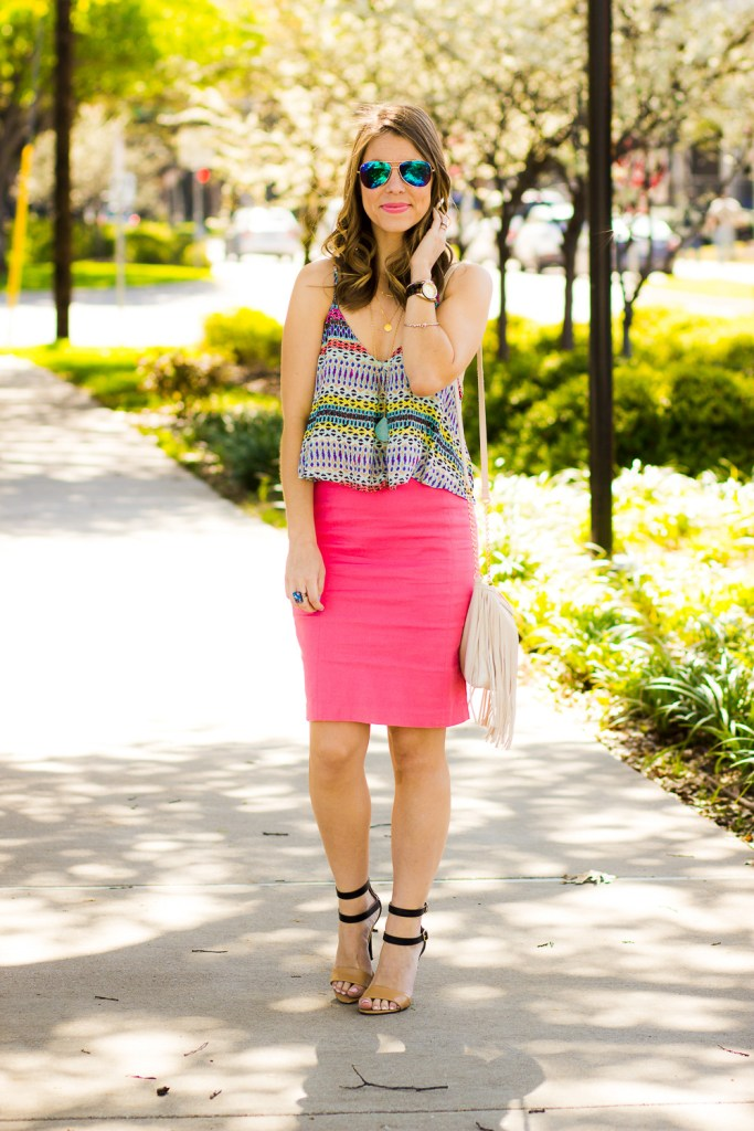 Colorful Crop Top and Pencil Skirt