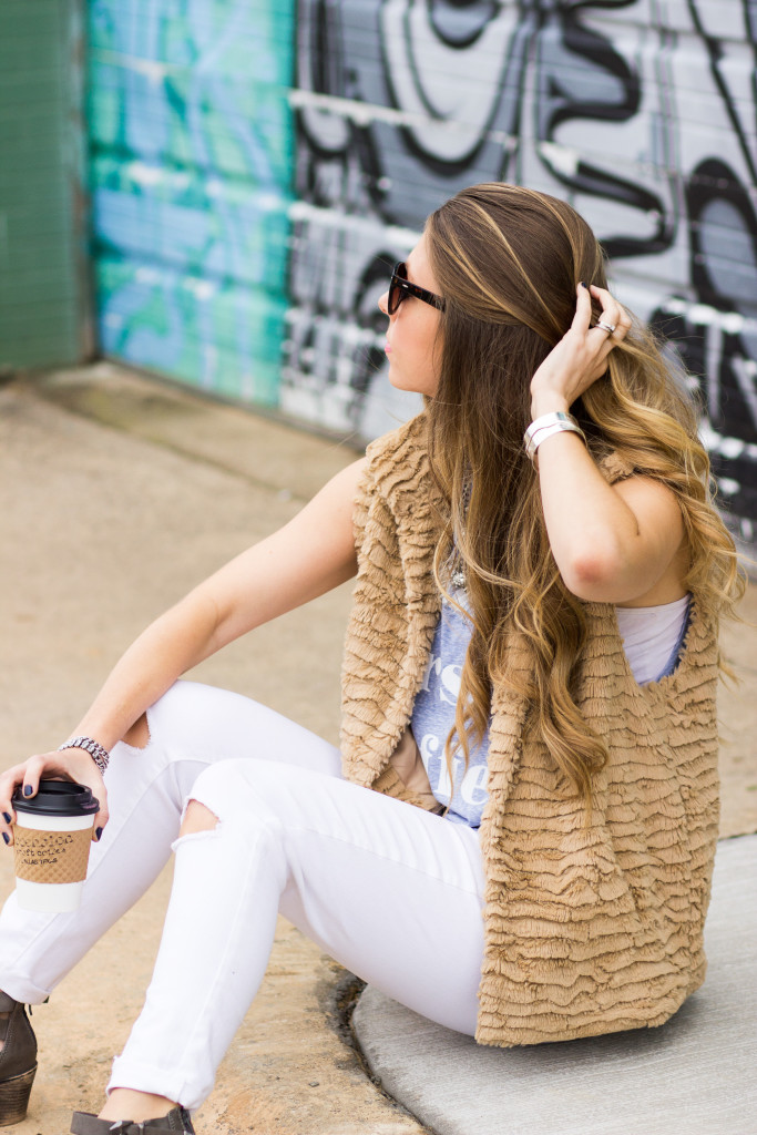 Faux Fur Vest and Ripped Jeans