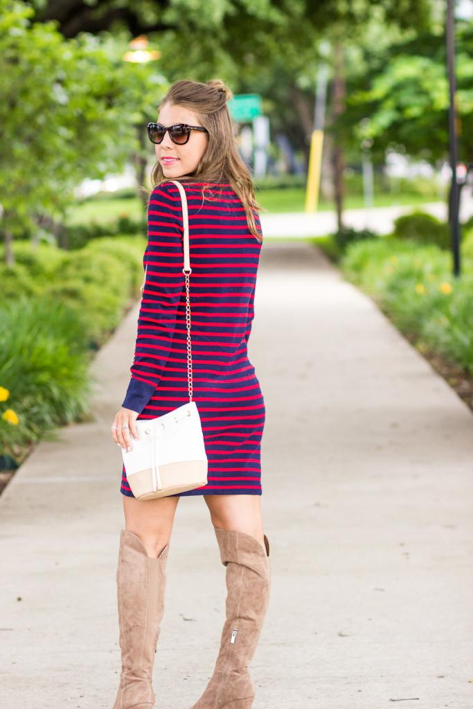 Striped Sweater Dress and OTK Boots