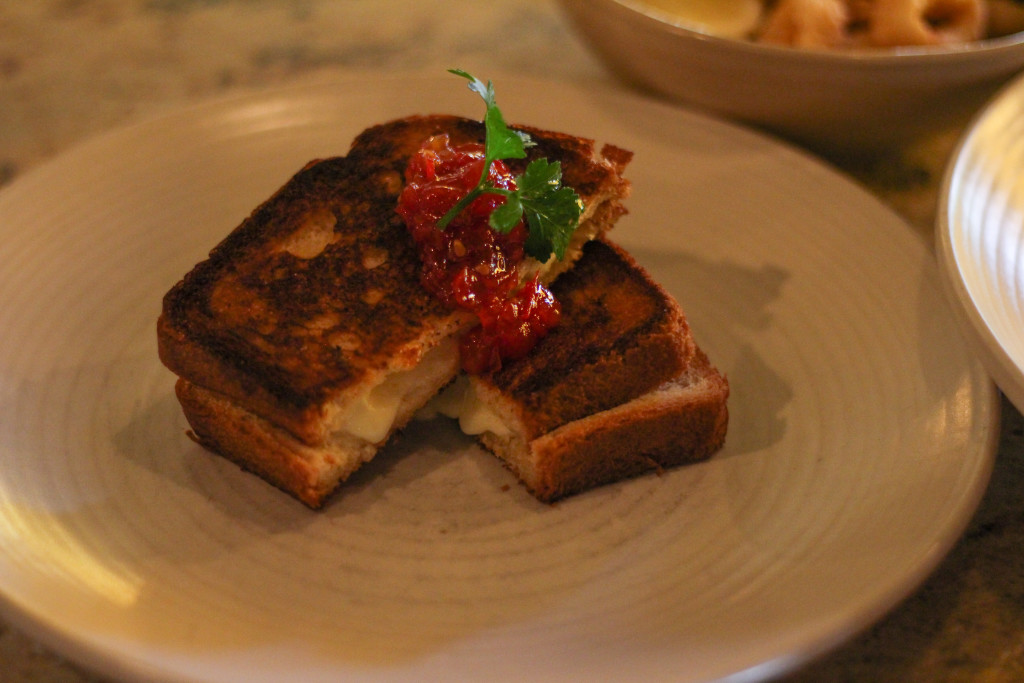 "The ""Bikini"" - Tetilla Grilled Cheese on brioche with tomato-rioja jam"