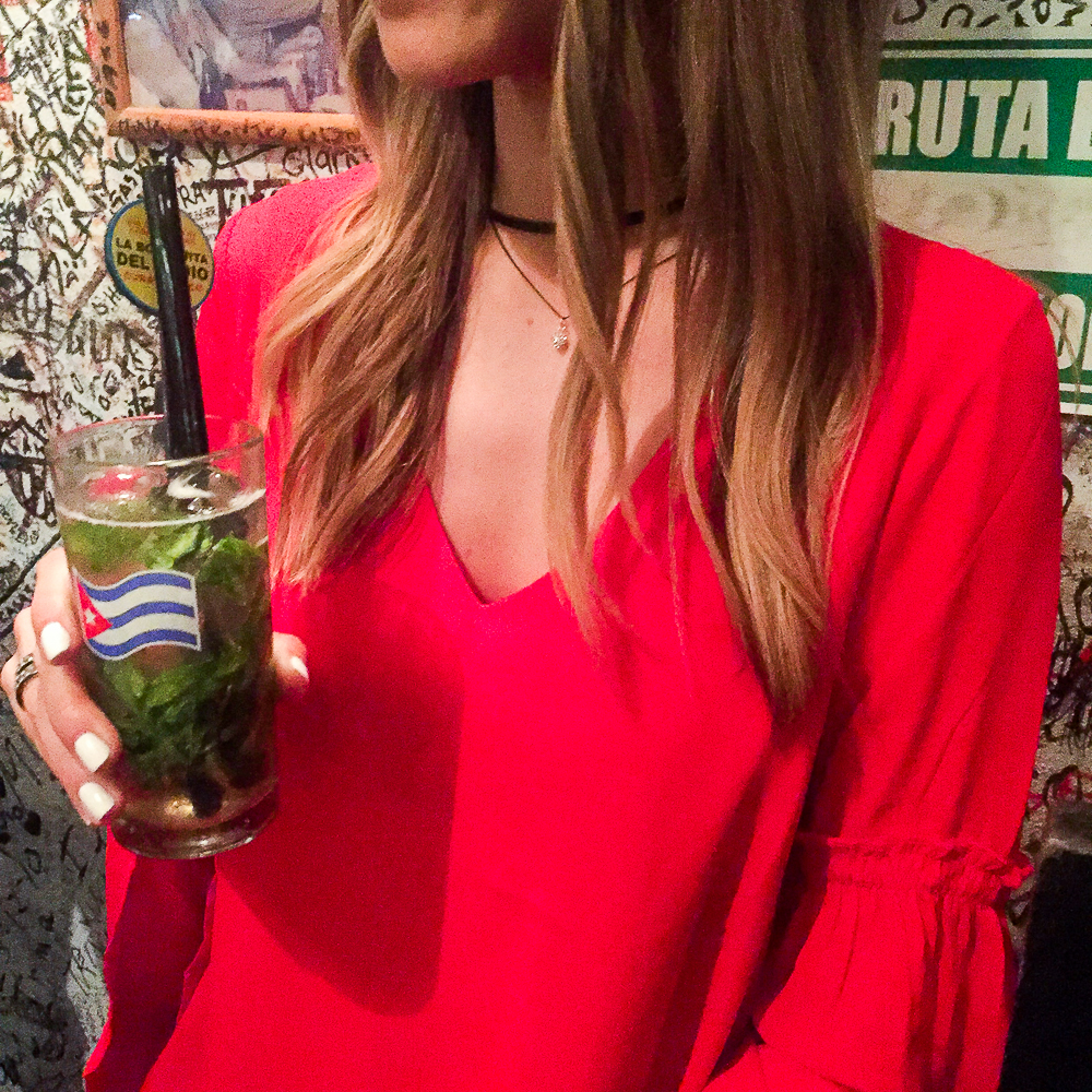 Red Dress Black Choker Mojito