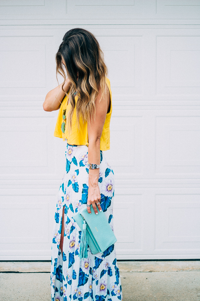 Tropical Maxi Skirt with Yellow Crop Top