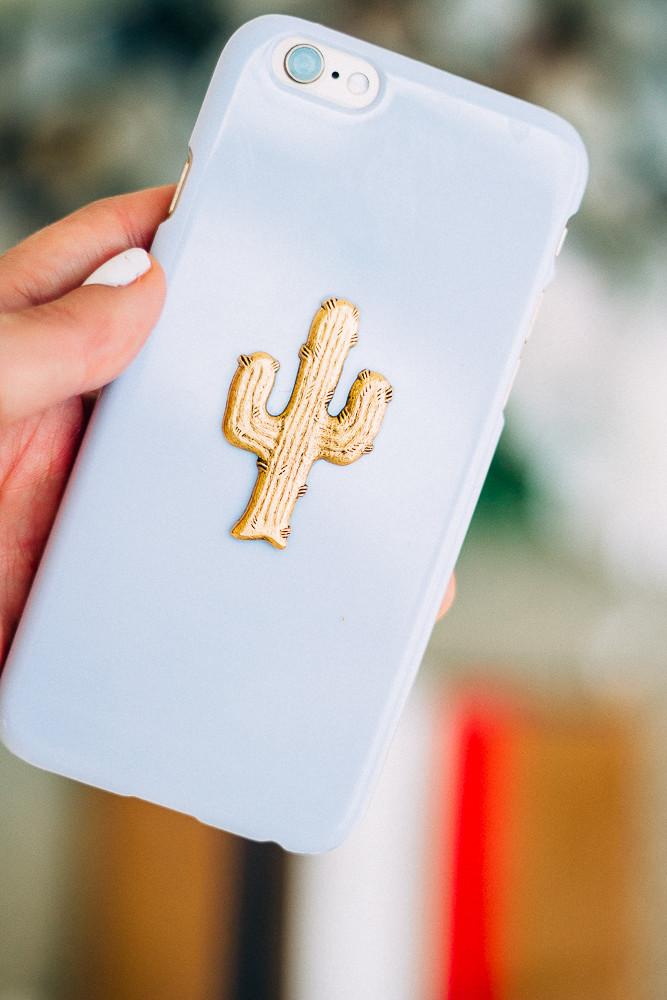 Gold cactus phone case