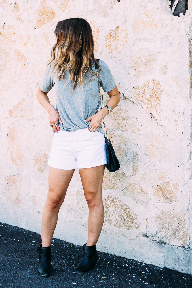 Knotted Grey Tee and Shorts with booties