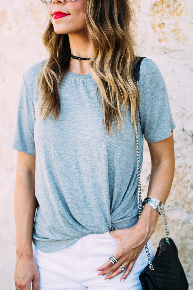 Grey Knot Front Tee