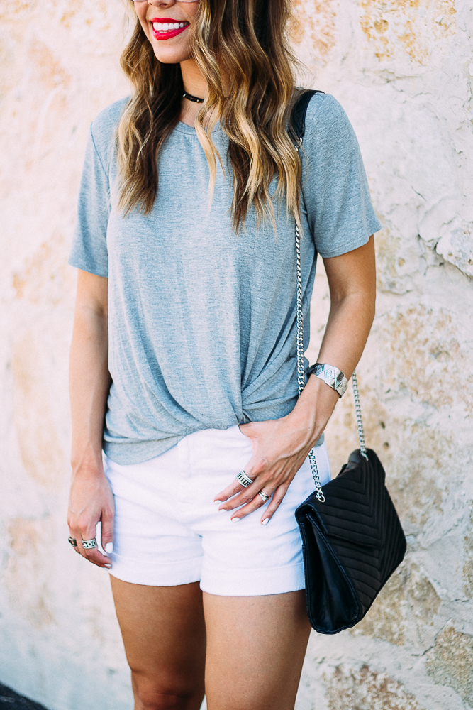 Knotted Grey Tee and White Denim