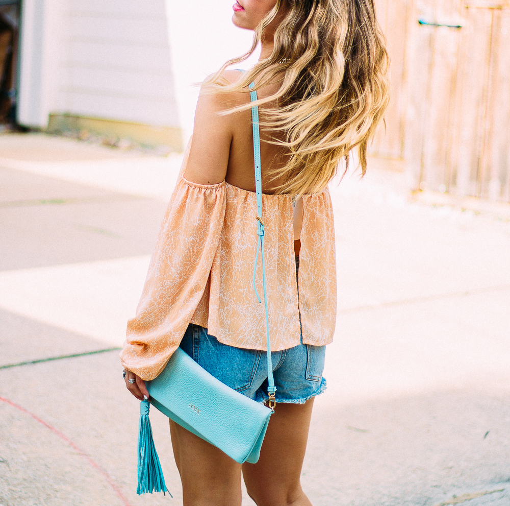 yellow off the shoulder boho top