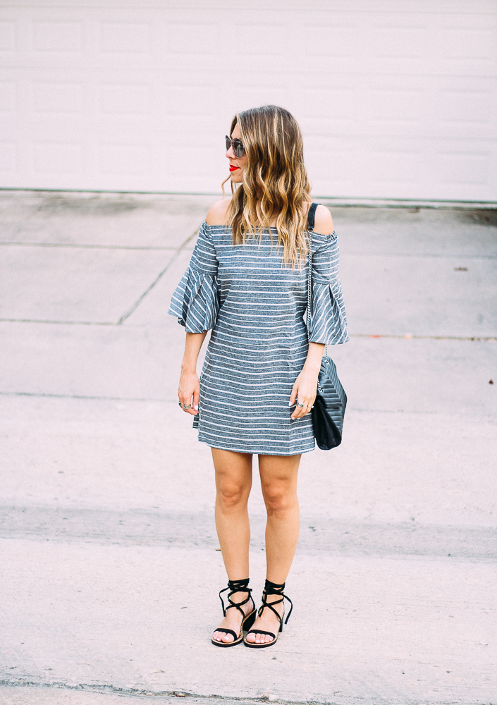 grey and white striped dress