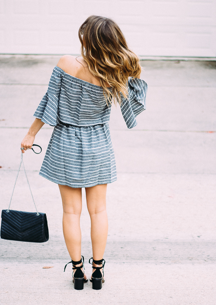 grey and white striped dress with sleeves
