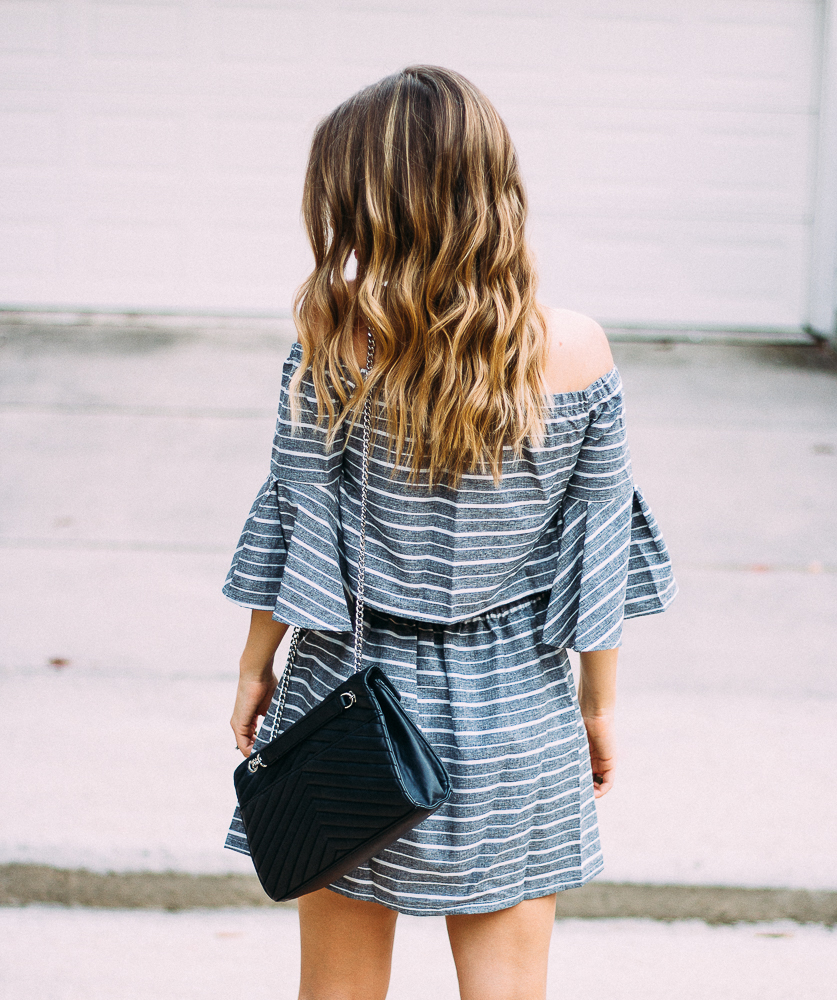 grey and white off the shoulder dress