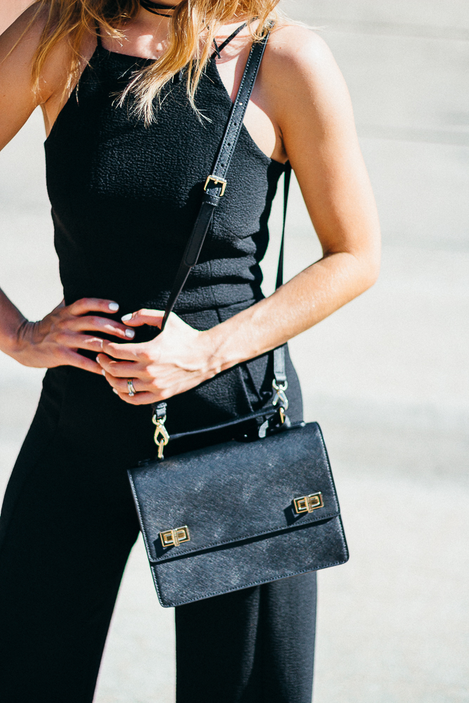 Black Halo Black Jumpsuit Henri Bendel Bag