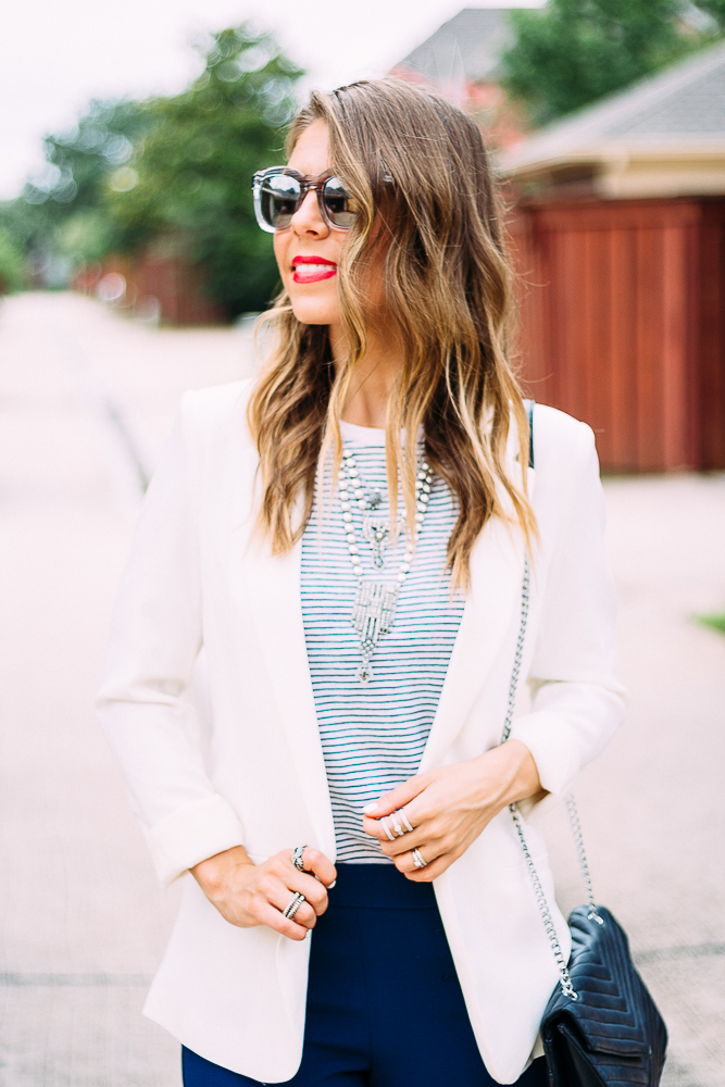 White Blazer and Striped Top