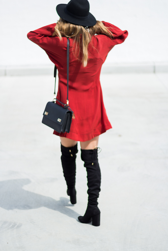 long sleeve red dress free people