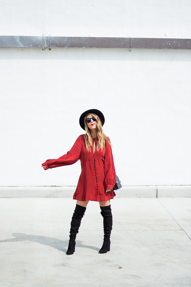 long sleeve red dress and boots