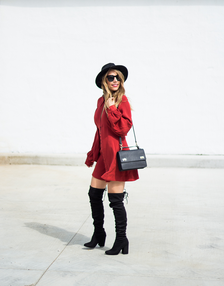 puffy sleeve dress with boots