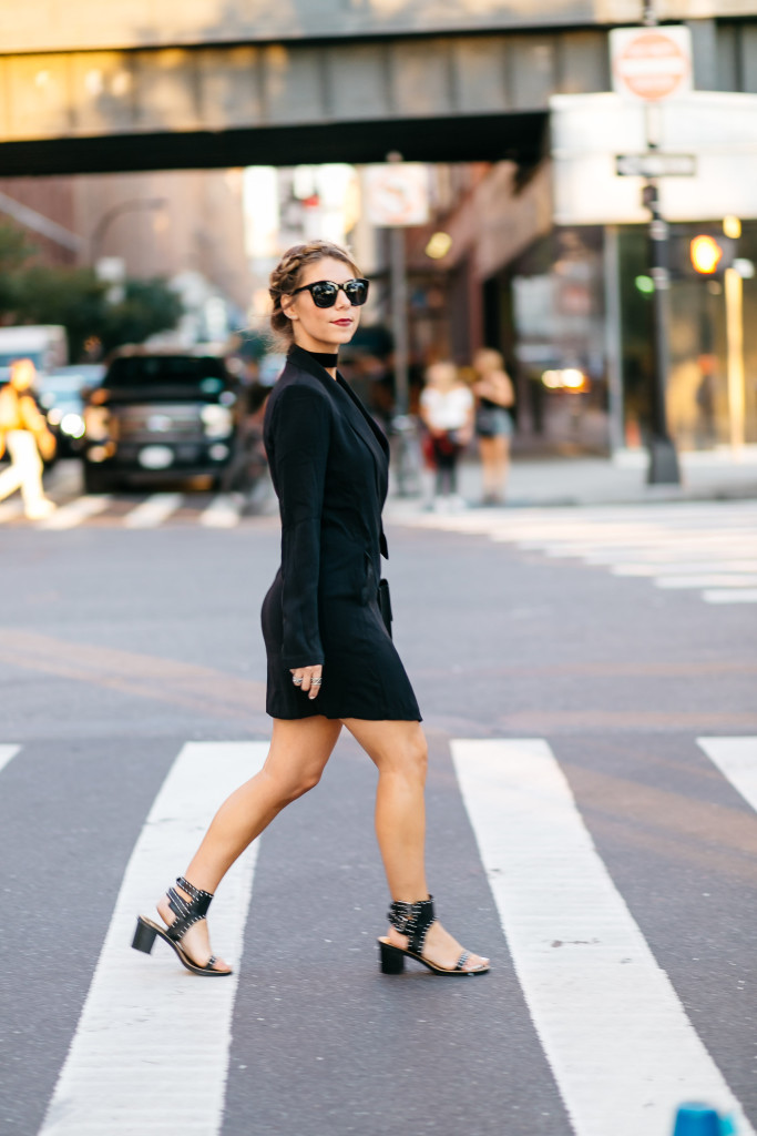 black blazer dress NYFW