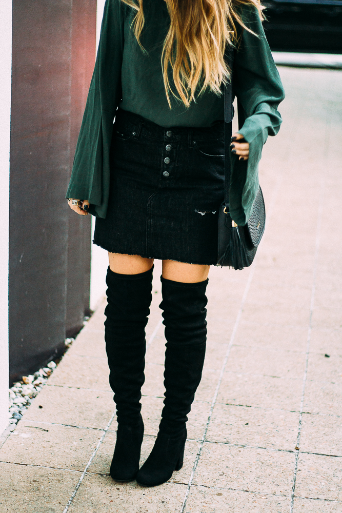 mini skirt with over the knee boots