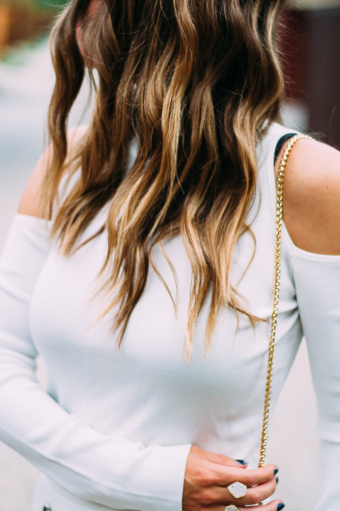 white cold-shoulder top
