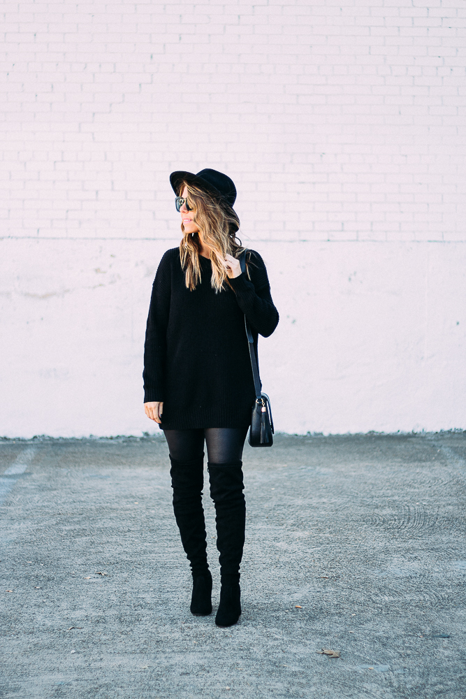 head to toe black outfit
