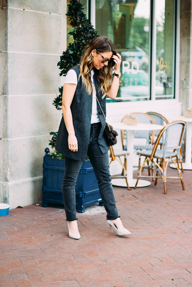 oversized vest with jeans and a tee