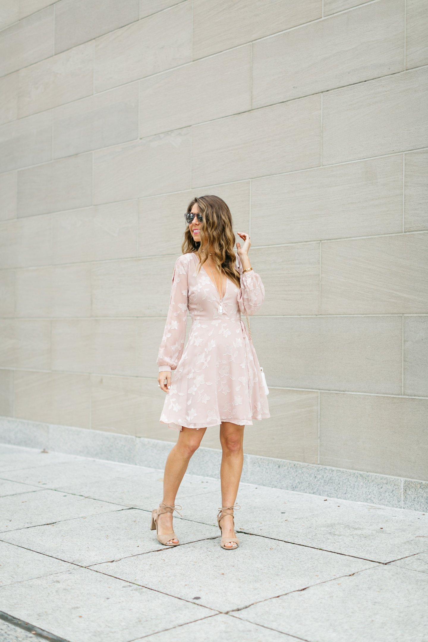 Pale Pink Floral Wrap Dress