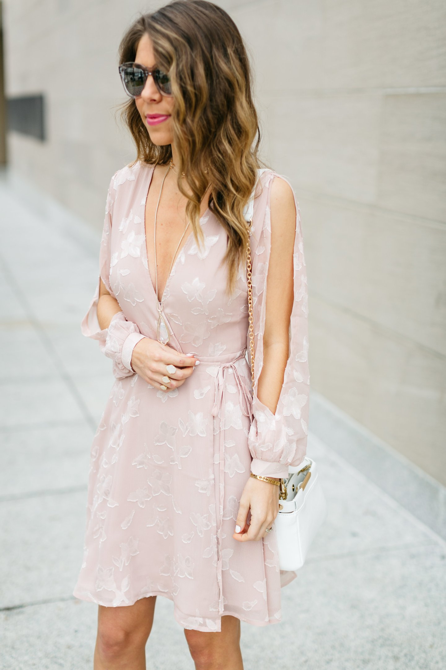 pink sheer wrap dress