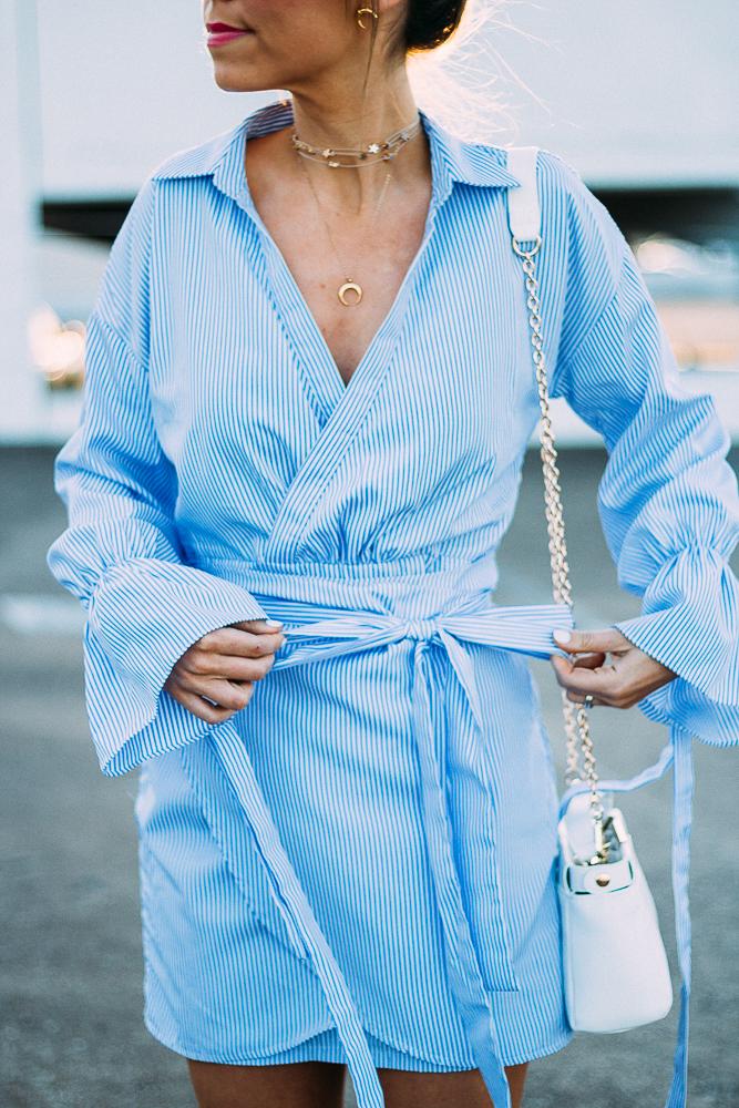 blue pinstripe wrap dress