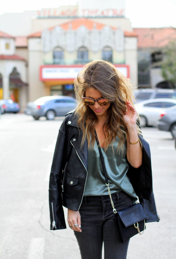 moto jacket and satin cami