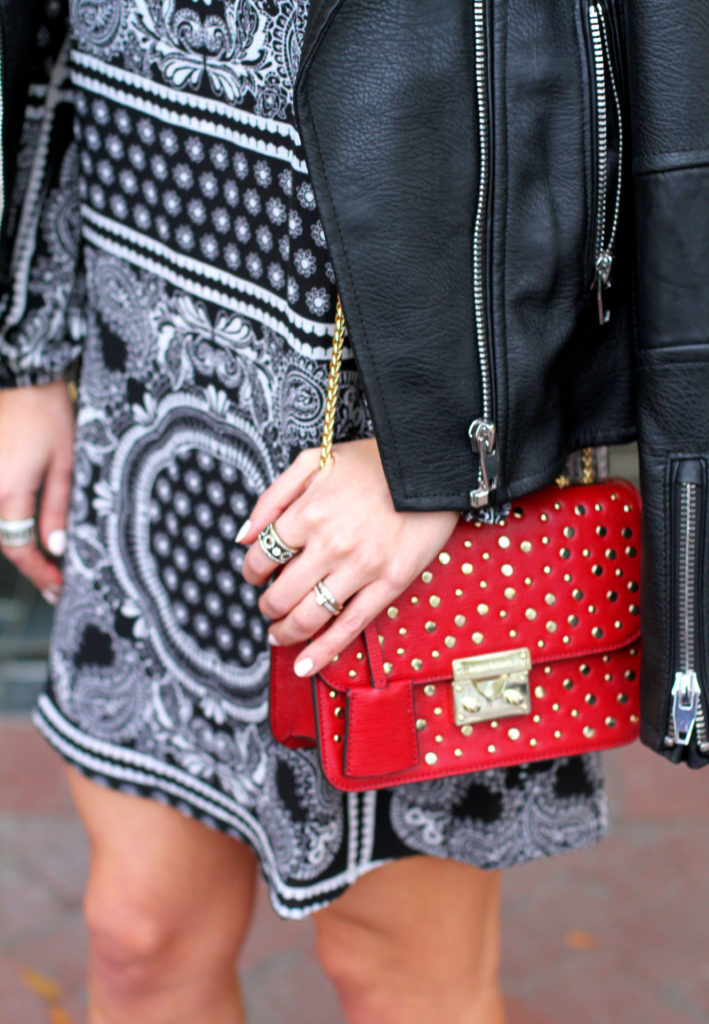 Red bag with gold studs