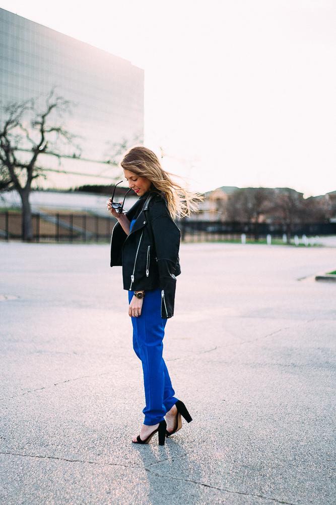 blue jumpsuit black moto jacket