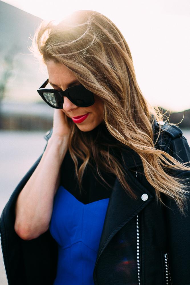 black and blue jumpsuit