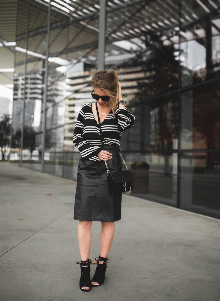 striped top with leather pencil skirt